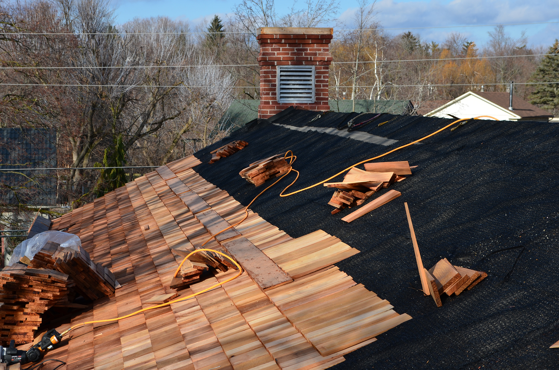 Commercial Cedar Roof during installation